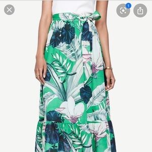 Ann Taylor Green Floral Maxi Skirt NWOT size 2p